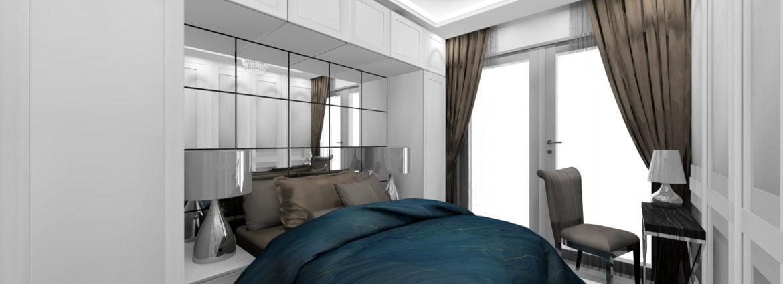 Aranżacja wnętrz sypialni pokoju hotelowego