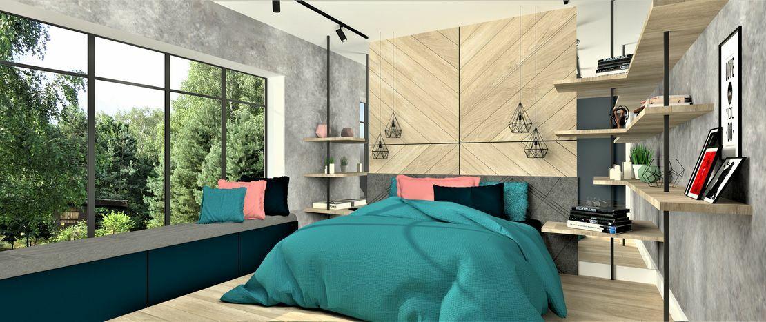 Sypialnia z dębowym wezgłowiem pracownia architektury wnętrz wkwadrat