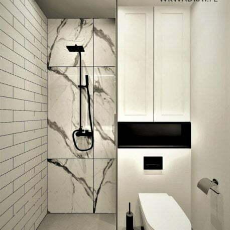 projekt łazienki beton calacatta