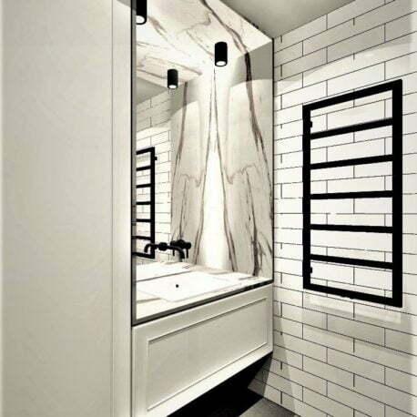 Projekt łazienki calacatta i cegła - Architekt Wnętrz WKWADRAT